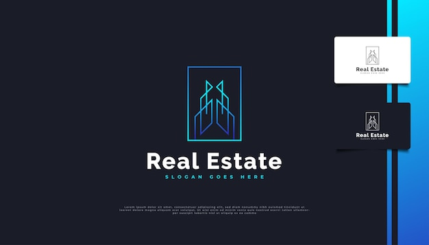 Création de logo immobilier moderne en dégradé bleu avec style de ligne.