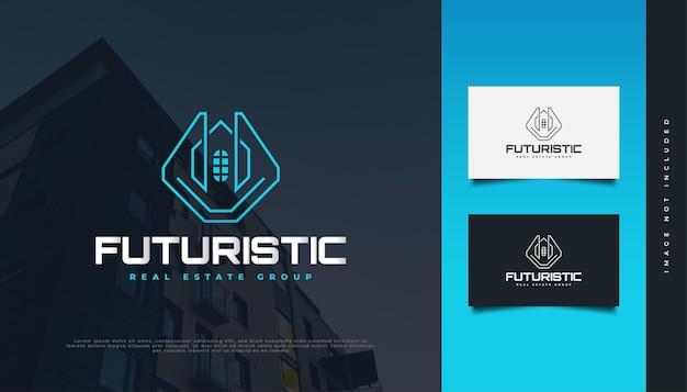 Création de logo immobilier moderne et futuriste en dégradé bleu avec style de ligne. création de logo de construction, d'architecture ou de bâtiment