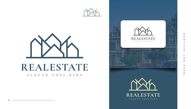Création de logo immobilier moderne et minimaliste avec style de ligne. création de logo de construction, d'architecture ou de bâtiment