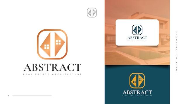 Création de logo immobilier or abstrait. création de logo de construction, d'architecture ou de bâtiment