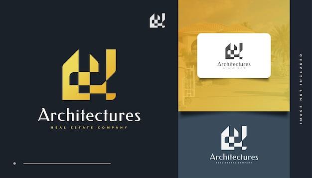 Création de logo immobilier or abstrait. logo de construction, d'architecture ou de bâtiment
