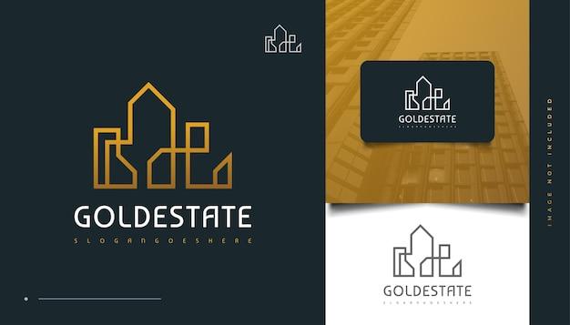 Création de logo immobilier or élégant avec style de ligne. création de logo de construction, d'architecture ou de bâtiment