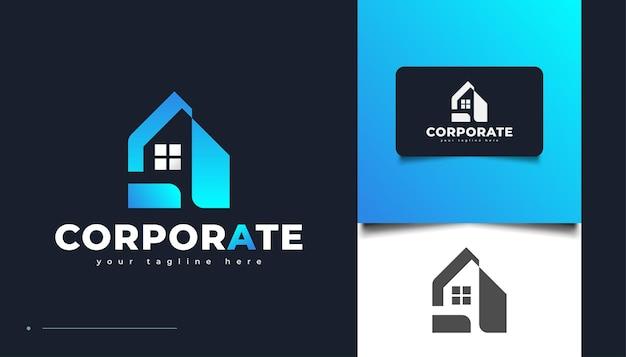 Création de logo immobilier propre et minimaliste en dégradé bleu. création de logo de construction, d'architecture ou de bâtiment