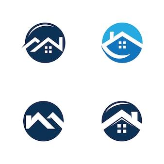 Création de logo immobilier, signe de l'entreprise. vecteur de logo