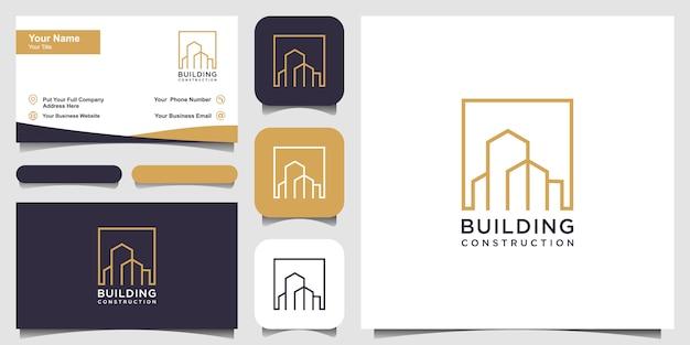 Création de logo immobilier avec style art en ligne. résumé de la construction de la ville pour la conception de logo inspiration et conception de cartes de visite
