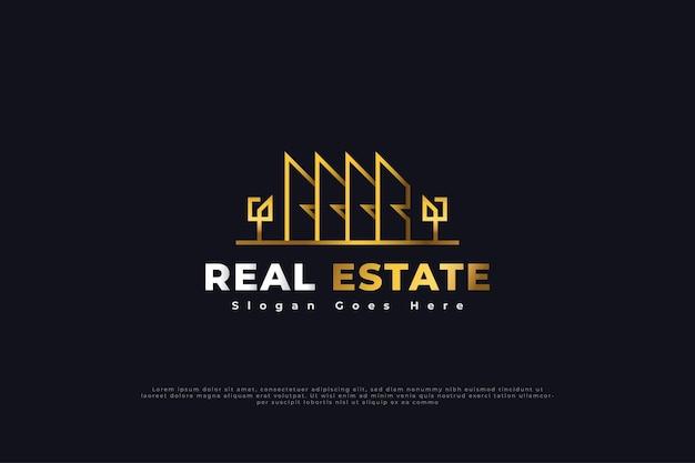 Création de logo immobilier avec style de ligne en dégradé d'or. modèle de conception de logo de construction, d'architecture ou de bâtiment