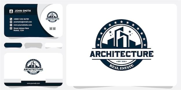 Création de logo d'insigne d'architecture de bâtiment avec carte de visite. création de logo immobilier