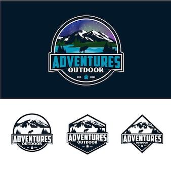 Création de logo d'insigne d'aventure en plein air de collection