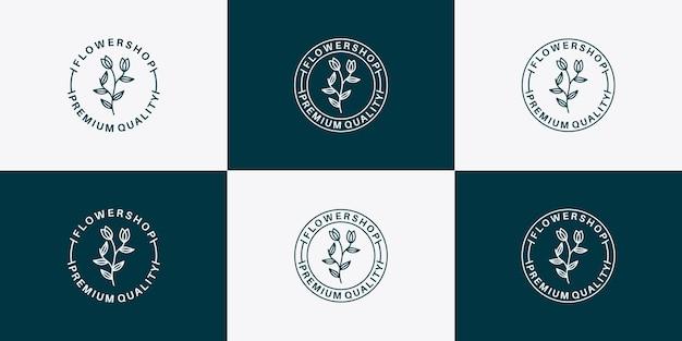 Création de logo d'insigne de magasin de fleurs de beauté pour votre entreprise