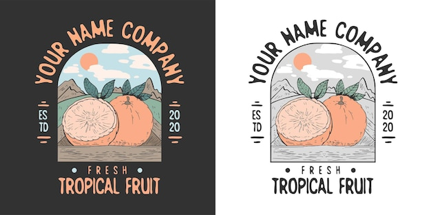 Création de logo d'insigne rétro de fruits tropicaux dessinés à la main belle vintage
