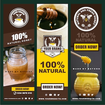 Création de logo, insignes, bannières, publicités sur les réseaux sociaux et étiquettes pour produits à base de miel