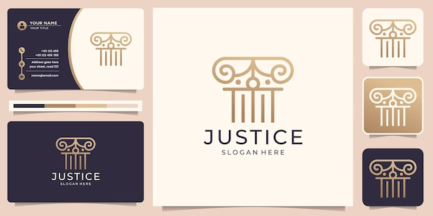 Création de logo de justice de cabinet d'avocats avec modèle de carte de visite