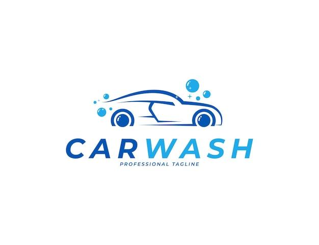 Création de logo de lavage de voiture de sport avec illustration de mousse à bulles