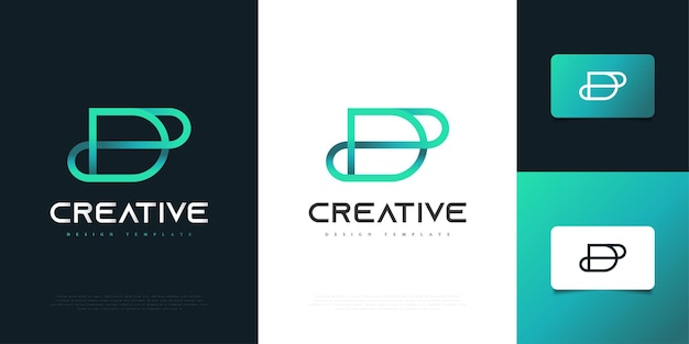 Création de logo lettre d abstraite et minimaliste en dégradé bleu avec style de ligne. symbole de l'alphabet graphique pour l'identité d'entreprise