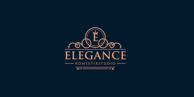 Création de logo lettre e avec élément couronne