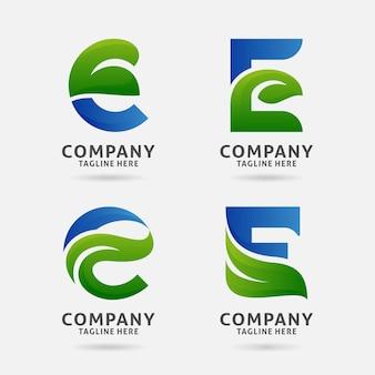 Création de logo lettre e feuille