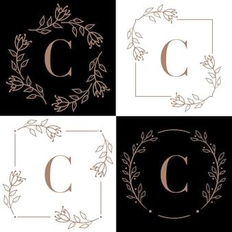 Création de logo lettre c avec élément feuille d'orchidée