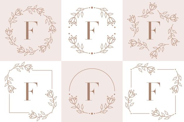 Création de logo lettre f avec élément feuille d'orchidée