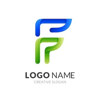 Création de logo lettre f avec style de couleur bleu et vert 3d