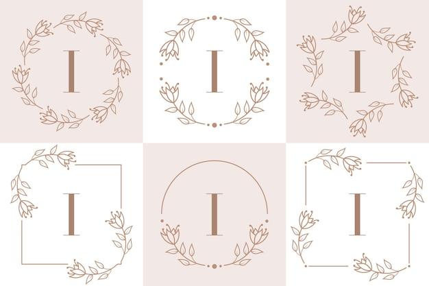Création de logo lettre i avec élément feuille d'orchidée