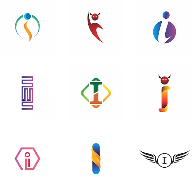 Création de logo de lettre i pour l'icône