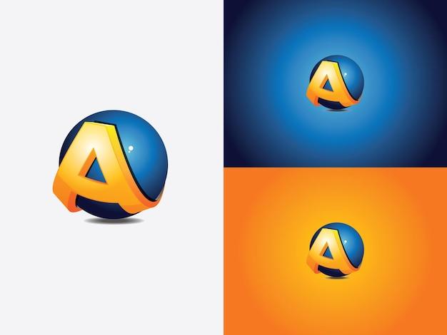 Création de logo avec la lettre initiale a enroulée autour d'une sphère bleue, le globe, version de couleur orange avec coupe horizontale