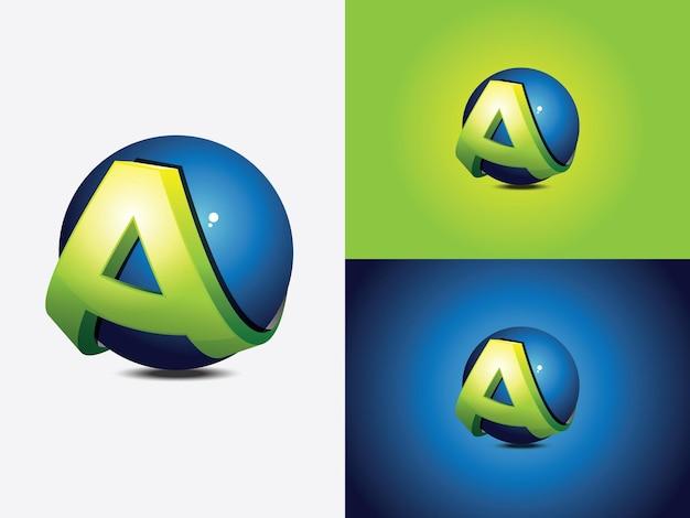 Création de logo avec la lettre initiale a enroulée autour d'une sphère bleue, le globe, version de couleur verte avec coupe horizontale