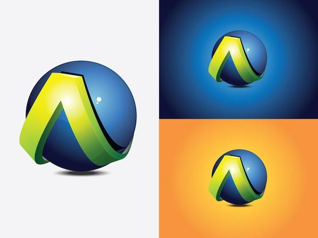 Création de logo avec la lettre initiale a enroulée autour d'une sphère bleue, le globe, version de couleur verte sans coupe horizontale