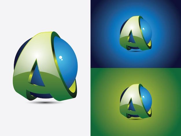 Création de logo avec la lettre initiale a enroulée autour d'une sphère bleue, le globe, version de couleur verte