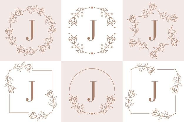 Création de logo lettre j avec élément feuille d'orchidée