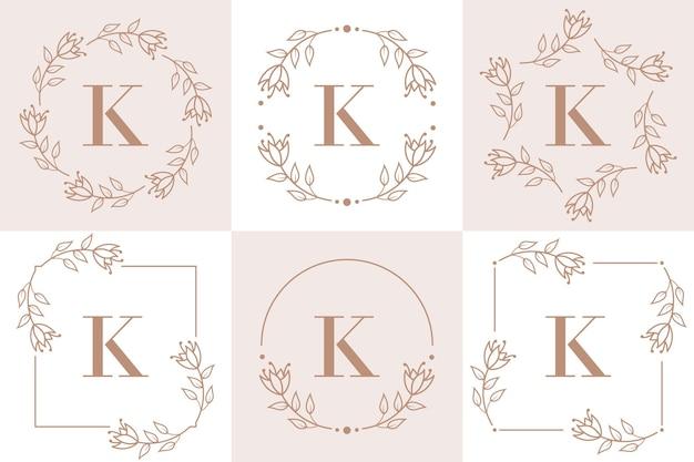 Création de logo lettre k avec élément feuille d'orchidée
