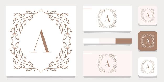 Création de logo lettre a de luxe avec modèle de cadre floral, conception de carte de visite