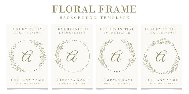 Création de logo lettre a de luxe avec modèle de fond de cadre floral