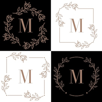 Création de logo lettre m avec élément feuille d'orchidée