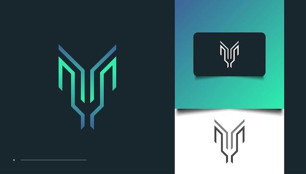 Création de logo lettre m moderne et abstraite avec concept linéaire. modèle de conception de logo m
