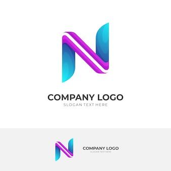 Création de logo lettre n avec style de couleur violet et bleu 3d