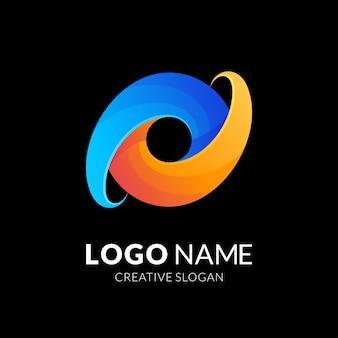 Création de logo lettre o, style de logo moderne en dégradé de couleur bleu et jaune