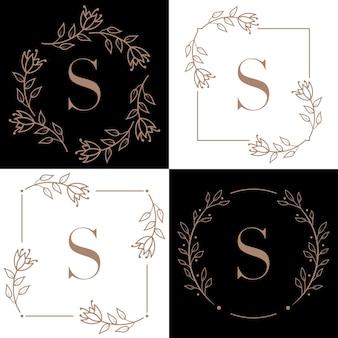 Création de logo lettre s avec élément feuille d'orchidée