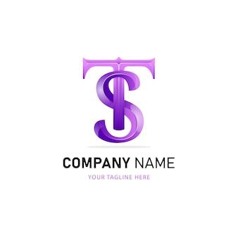 Création de logo lettre t et s, modèle de logo coloré