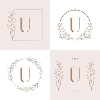 Création de logo lettre u avec élément feuille d'orchidée