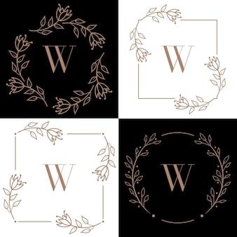 Création de logo lettre w avec élément feuille d'orchidée