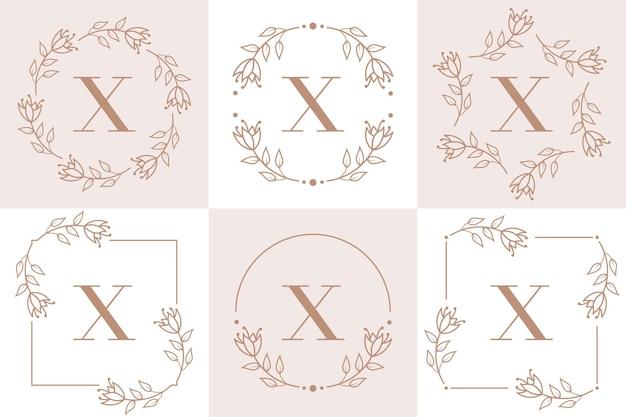 Création De Logo Lettre X Avec élément Feuille D'orchidée Vecteur Premium