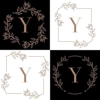 Création de logo lettre y avec élément feuille d'orchidée
