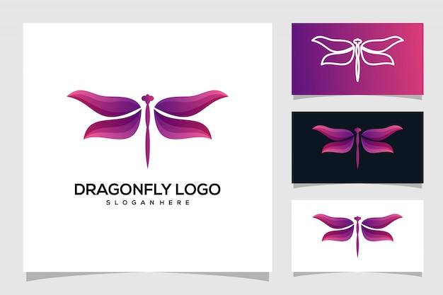 Création De Logo De Libellule Vecteur Premium