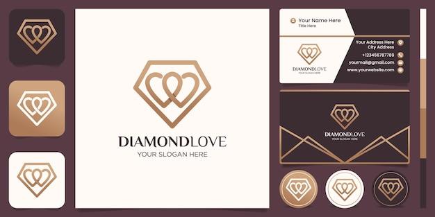 Création de logo de ligne d'amour de diamant et conception de carte de visite