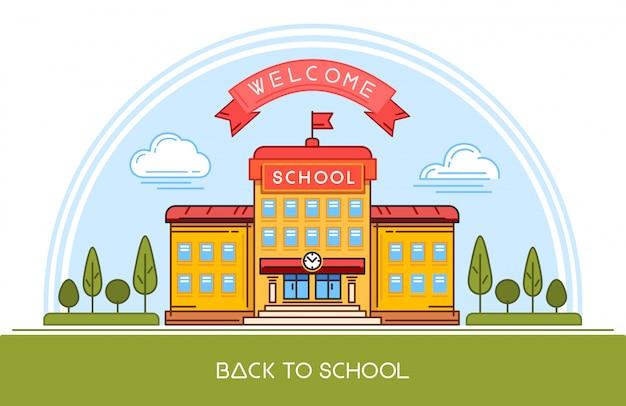Création de logo de ligne de bâtiment scolaire