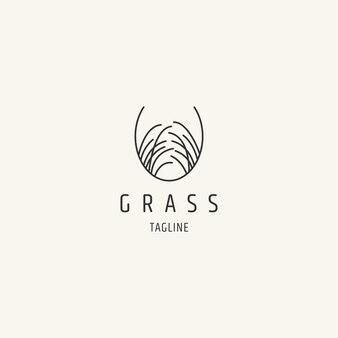 Création de logo de ligne d'herbe