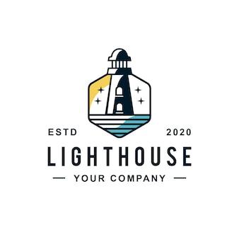 Création de logo de ligne hexagonale de phare