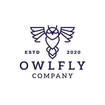 Création de logo de ligne hibou volant