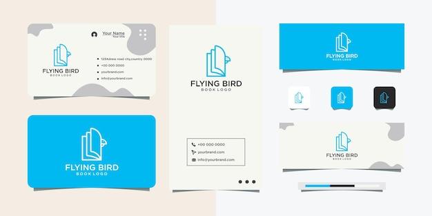 Création de logo de ligne d'oiseau de livre haut de gamme et carte de visite